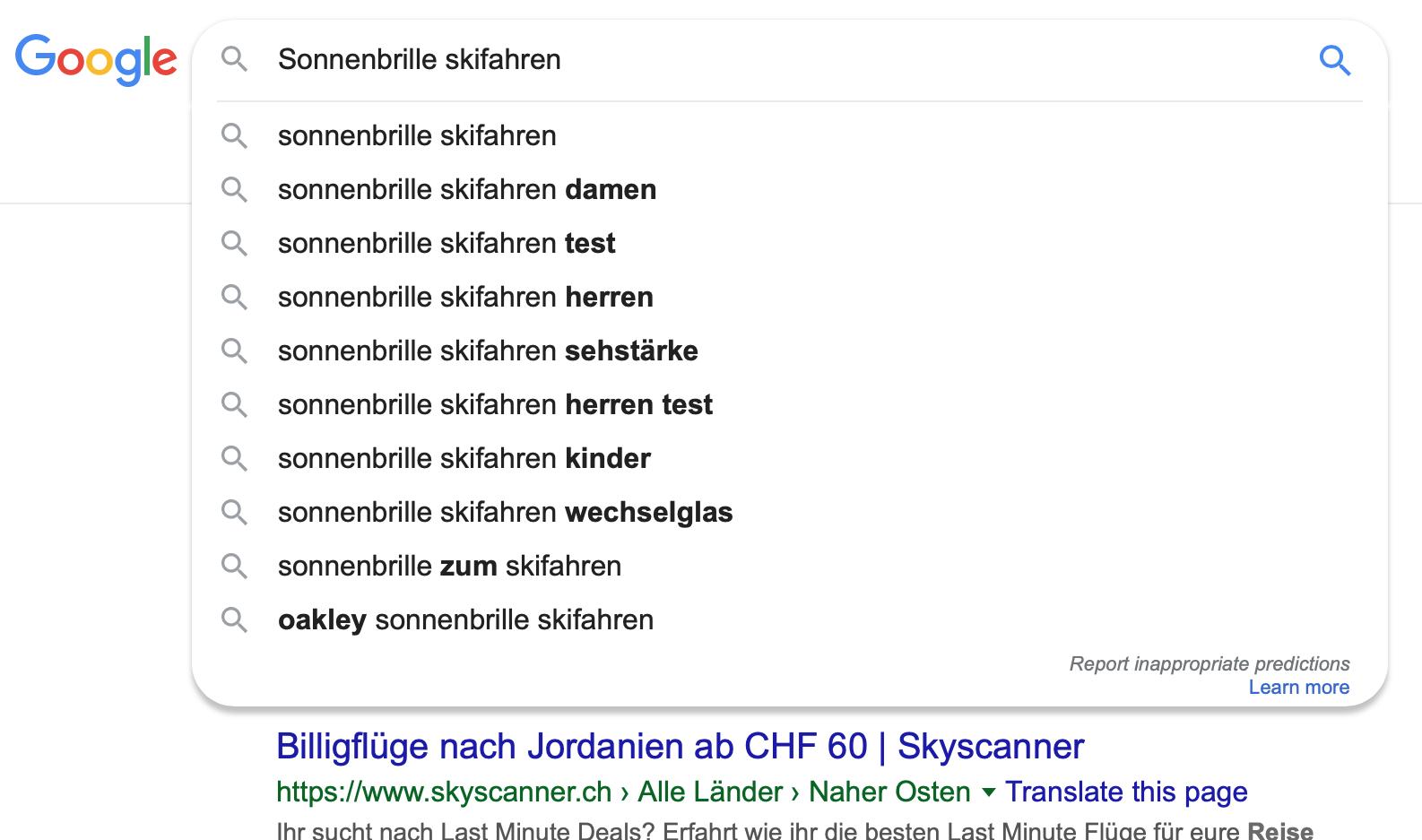 Keywords Suchresultate